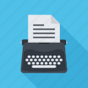 copywriting, paper, text, typewriter, writer icon