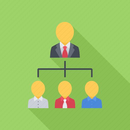 company, hierarchy, leader, structure, subordinates icon