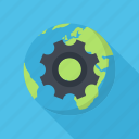 cogwheel, network, optimization, planet, seo icon