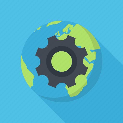 cogwheel, network, optimization, planet, seo icon