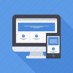design, mobile, monitor, phone, responsive, site, web icon