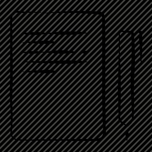copy, file, hand drawn, paper, pen icon