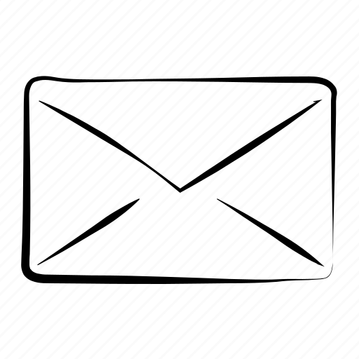 email, envelope, hand drawn, letter, mail icon