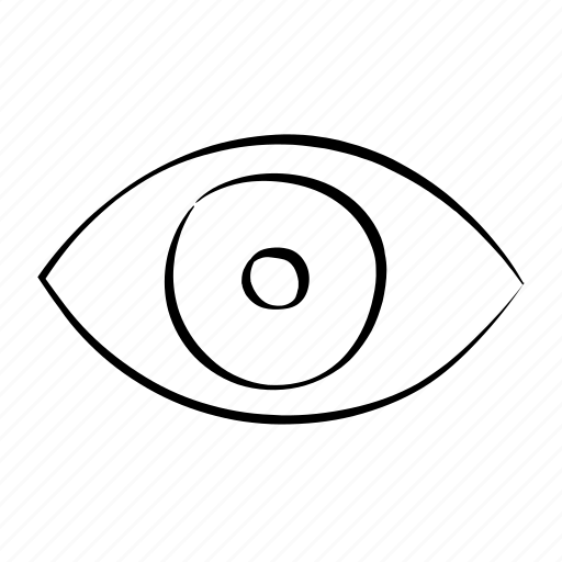 eye, hand drawn, look, search, show icon