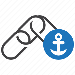 anchor, connection, link, network, text, url, web icon