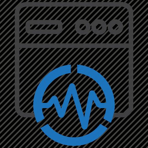 analytics, graph, page, pulse, statistics, web, website icon