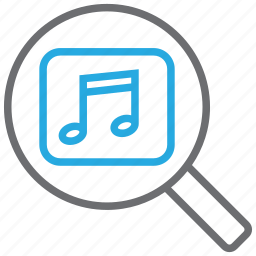 audio, find, magnifier, music, player, search, sound icon