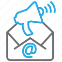 email, envelope, loudhailer, mail, marketing, megaphone, message icon