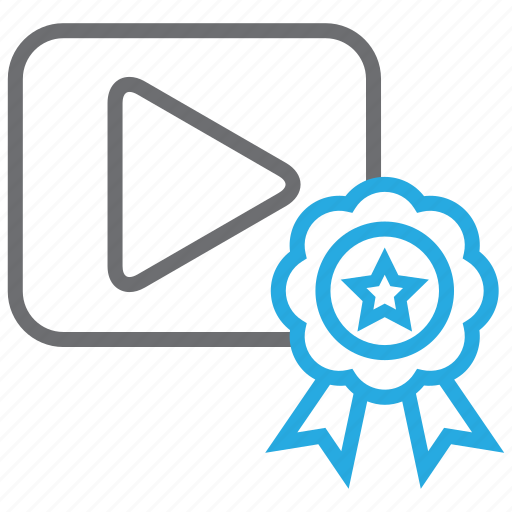 badge, film, media, movie, play, quality, video icon