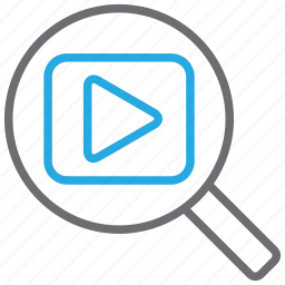 film, find, media, movie, search, video, zoom icon