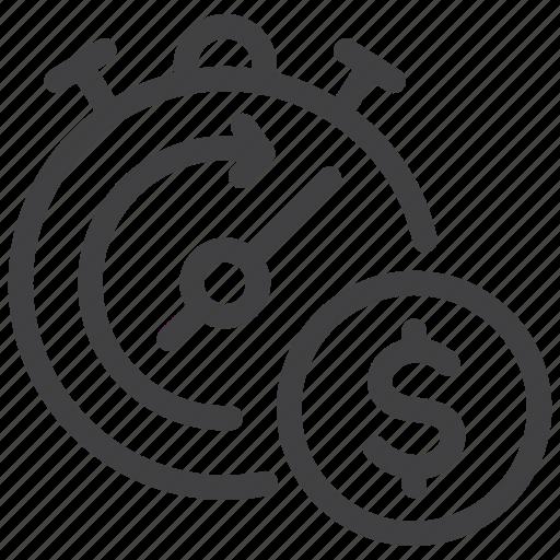efficiency, money, performance, productivity, stopwatch icon