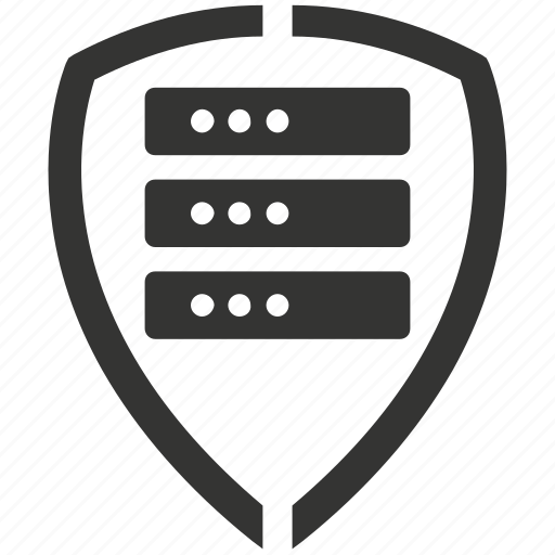 database, internet, network, privacy, security, server, shield icon
