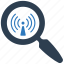 magnifier, search, signal, tower, wifi, wifi search, zoom icon