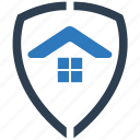 home, house, insurance, protection, real stats, security, shield icon