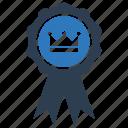 award ribbon, badge, crown, empire, king award, medal, prize icon