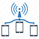 cloud computing, internet, mobile communication, network, systems, technology, wifi communication icon