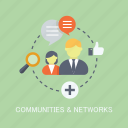 communities, concepts, internet, marketing, networks, people, seo icon