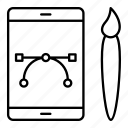 bezier, curve, design, mobile icon