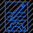 document, gear, internet, marketing, seo, technology icon