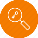 find, key, keyword, magnifying, search, tags icon