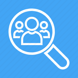 analytics, business, communication, magnifying glass, people, users icon