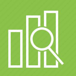 analysis, bar, business, data, magnifying glass, optimization, statistics icon