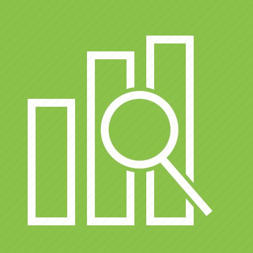 Analysis, bar, business, data, magnifying glass, optimization, statistics icon - Download on Iconfinder