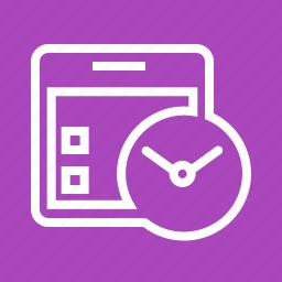 calendar, clock, date, event, plan, schedule, watch icon