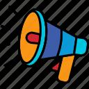 sound, audio, icon, speaker, marketing, megaphone, alert, announcement, loudspeaker, message, broadcasting, voice, announce, communication