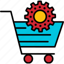 shopping, cart, ecommerce, icon, symbol, gear, shop