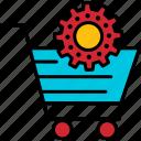 shopping, cart, ecommerce, icon, symbol, gear, shop