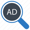ads, advertisement, magnifier, search, seo icon