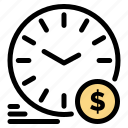 currency, dollar, money, time, wallclock icon