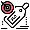 discount, promotion, seo, tag, target icon