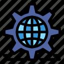 gear, globe, setting, web, world icon