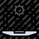 configuration, laptop, seo, setting, web icon