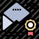 award, email, medal, newsletter, offer icon