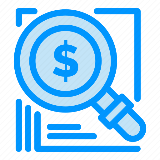 business, dollar, magnifer, search, solution icon