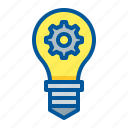 bulb, gear, idea, invent icon