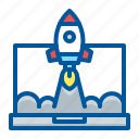 laptop, launch, project, startup icon