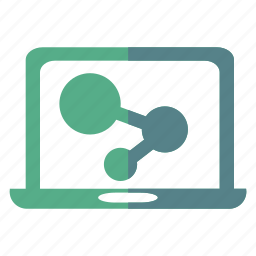 computer, display, finance, graph, information, laptop, transfer icon