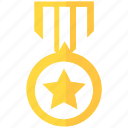 badge, first, honor, importance, medal, success, win icon