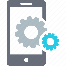 analytics, connection, control, custom, gear, mobile, repair icon