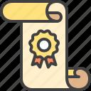 badge, diploma, document, guarantee, quality, ribbon, warranty icon