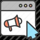 advertising, cursor, loudspeaker, promotion, seo, window icon