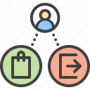 bounce, conversion, earnings, ecommerce, exit, rate, shopping icon