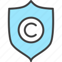 article, copyright, copyrighter, guard, protection, security, shield icon