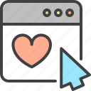 arrow, cursor, favorite, heart, optimization, seo, window icon