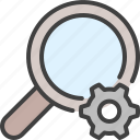 cog, configure, glass, magnifying, search, settings, zoom