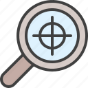 aim, bullseye, glass, goal, magnifying, search, target